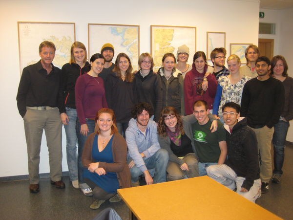 The 2011 cohort during the Integrated Coastal Zone Management class with their instructor, James Alley.