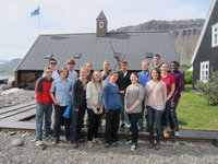 The 2011 SIT student group by the Westfjords Heritage Museum.
