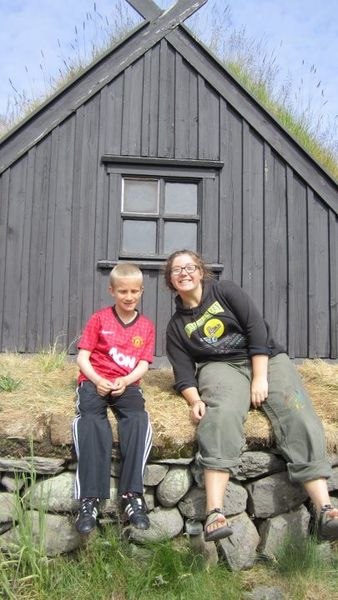 SIT student Aurora Roth together with her 'younger brother' Einar Geir, visiting the Ósvör Fisherman´s Hut Museum.