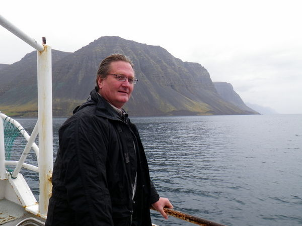 Professor Marc L. Miller at sea in Arnarfjörður in the summer of 2010.