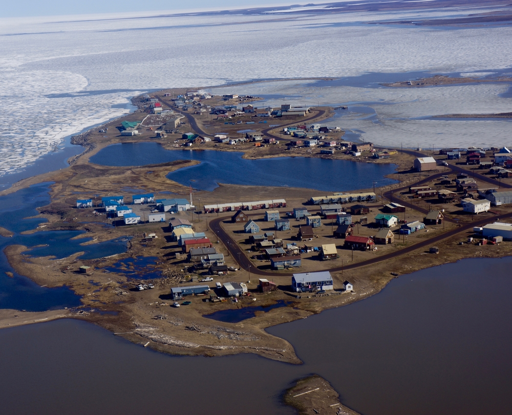 Flying over Tuktoyaktuk when Joshua arrived in May 2012.