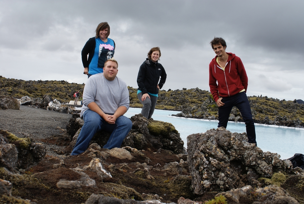 Joshua with his classmates Jen, Lindsay and Rob at the Blue Lagoon when they first arrived in Iceland.