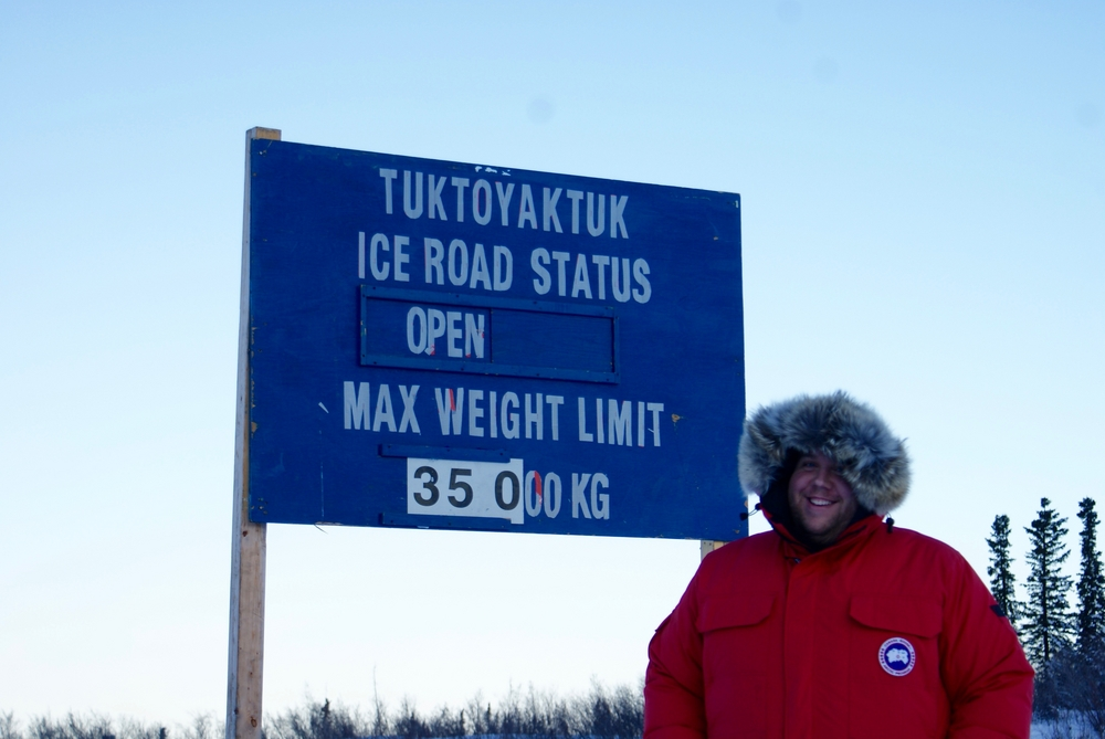 Joshua at the start of the Ice Road to Tuktoyaktuk (the only road from Inuvik to Tuktoyaktuk).