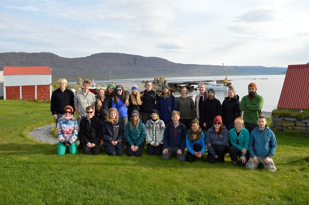 The CMM 2015 cohort of students during a field trip in Vigur Island.