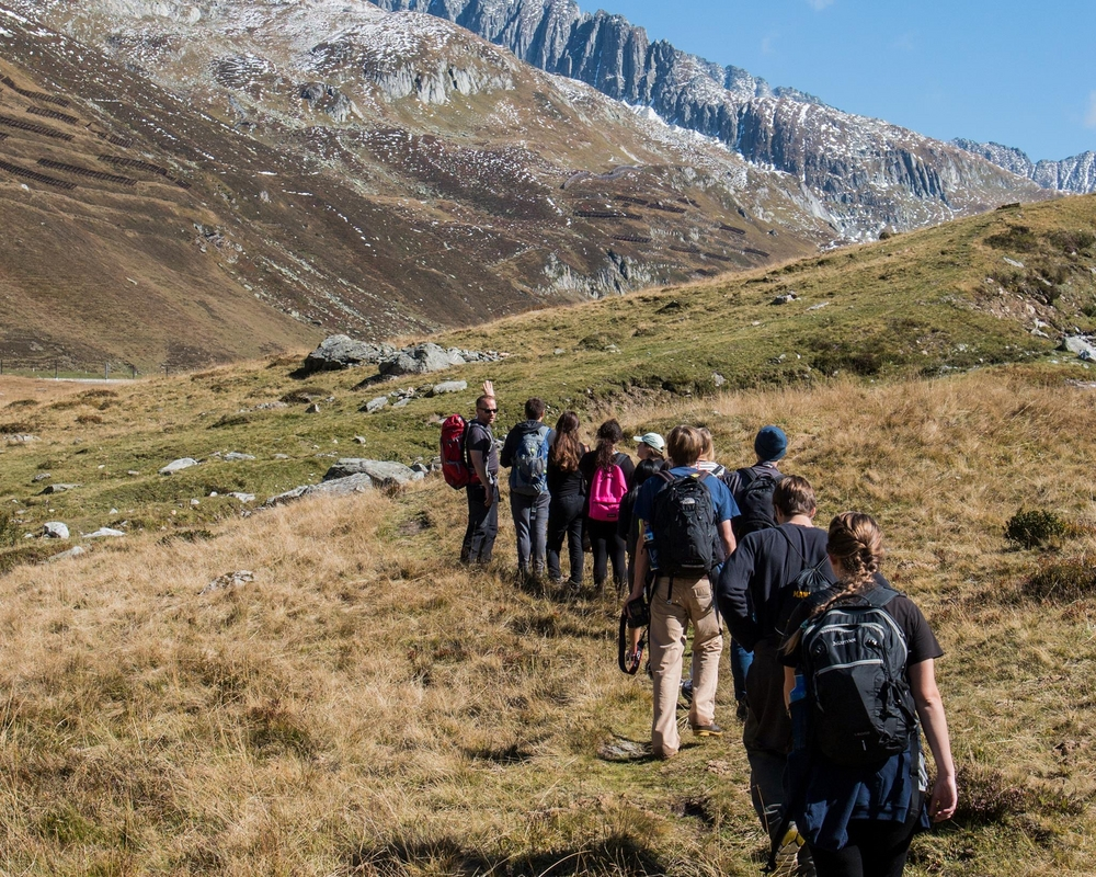 The Alps also make for a nice field trip. Taken near the Oberalppass with first-year students. (Photo credit: Peter Sui)