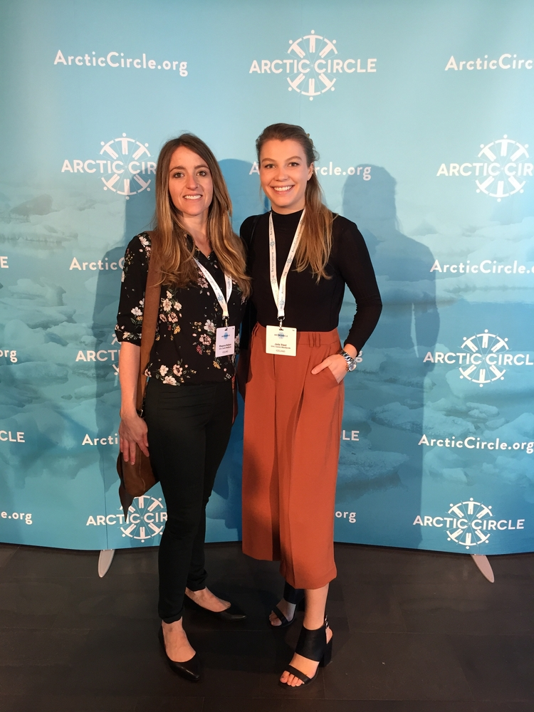 Students Rheanna Dawn Neilson and Jade Ryan Steel at the Arctic Circle.