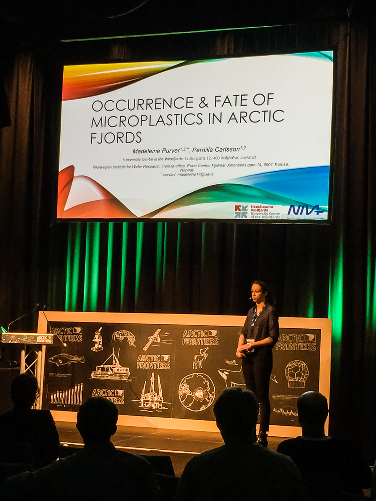 Madeleine Purver giving her talk on Occurrence and fate of microplastics in arcticfjords.