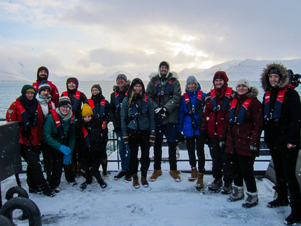 The group together on deck. It was a cold and snowy day but people did not mind that at all.