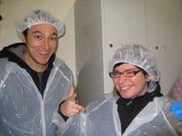 Alex Stubbing and Jennifer Brown, both from Canada, getting ready to make the tour of the Klofningur plant.