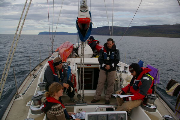 Students and instructors on a sailboat trip in Ísafjarðardjúp fjord at the beginning of the CMM program in September 2008.