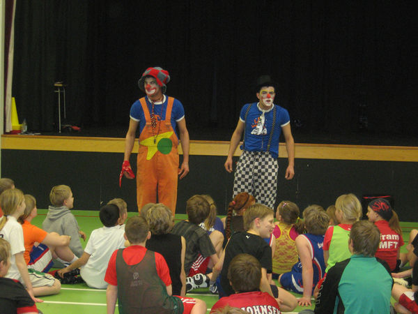 Mohammed Nazer and Nael Rajabi as clowns, educating and entertaining children in Patreksfjörður the other day.