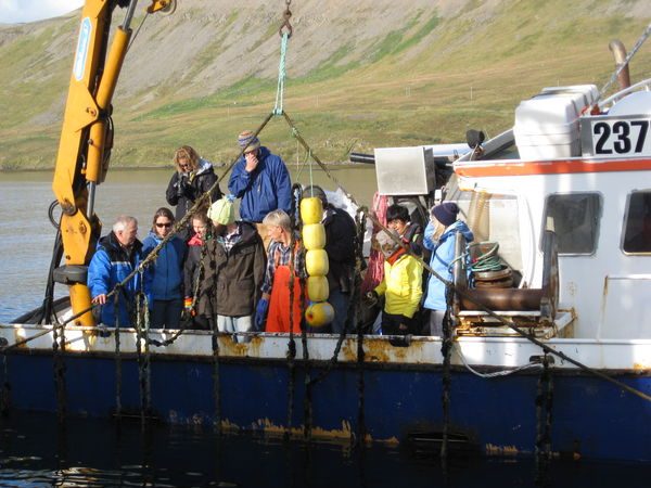 Students in the Coastal and Marine Management master's program at the University Centre visited aquaculture sites in the southern Westfjords last fall.
