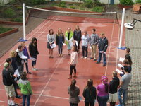 Learning to sing in Icelandic in the University Centre courtyard.