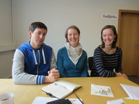 SIT programme assistants Al�x Elliott and Astrid Fehling with AD Caitlin Wilson.
