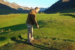 There is an exquisite 9-hole golf course situated between the mountains with a spectacular view over the fjord.