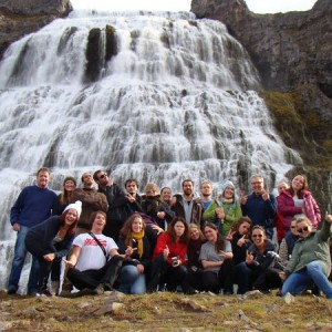 The CMM class of 2012-2013 with instructor Jamie Alley and CMM program director Dagn? Arnarsd?ttir. The photo is taken at the magnificent waterfall Dynjandi on a field trip to the southern part of the Westfjords peninsula. Photo: Johanna Humphrey.
