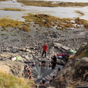 Students relaxing in a natural hot pool on their field trip to the southern Westfjords. Photo: Rob Salisbury.