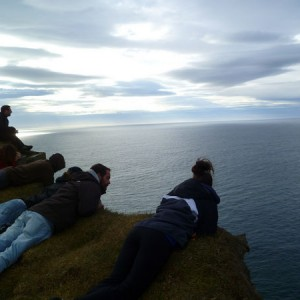 On the edge of the largest bird cliff in Europe, Látrabjarg. Photo: Megan O'Brien.