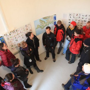 Inside the lighthouse students received a presentation about the nature preserve around Látrabjarg. Photo: Lucian Renita.
