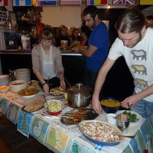 In the fall of 2012, Ægir Student Association hosted an International Buffet at one of the local restaurants. The buffet was well received by people in Ísafjörður and was great success. Photo:  Anja Bock.