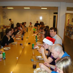 Christmas Dinner at the University Centre, students staff and instructors. Photo: Johanna Humphrey.